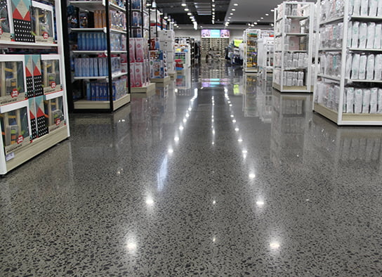 Commercial Polished Concrete in Retail Shopping Centre