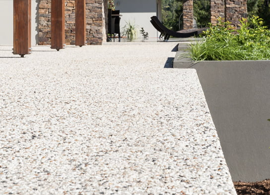 Exposed aggregate on patio