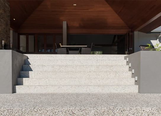 Outdoor exposed aggregate concrete stairs