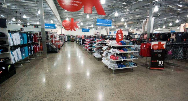 Commercial polished concrete flooring for KMart